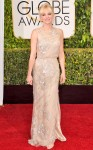Anna Faris in a blush lace Reem Acra gown.
