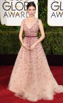 Anna Kendrick in a pink belted tulle Monique Lhuillier gown.