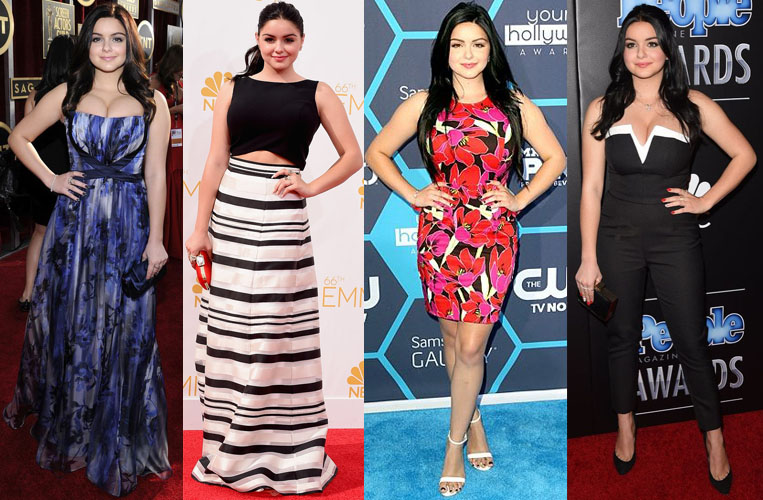 Ariel Winter in Badgley Mischka, Black Halo Eve, Kate Spade New York, & NBD.