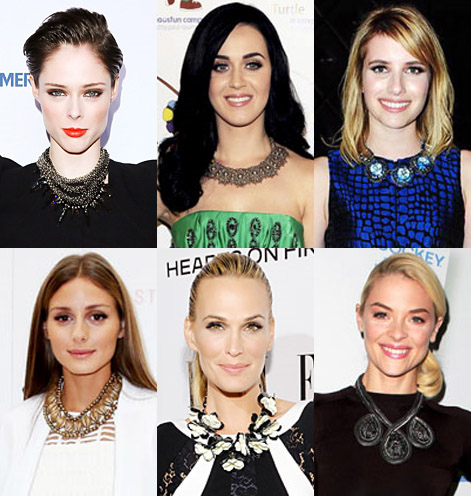 Coco Rocha, Katy Perry, Emma Roberts, Olivia Palermo, Molly Sims, & Jamie King in statement necklaces.