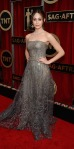 Emmy Rossum in a silver lace & Swarovski-encrusted Armani Prive strapless princess gown.