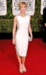 Felicity Huffman in a white paneled Lorena Sarbu dress.