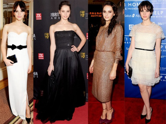 Felicity Jones in Burberry Prorsum, Moschino, Chloe, & Dolce & Gabbana.