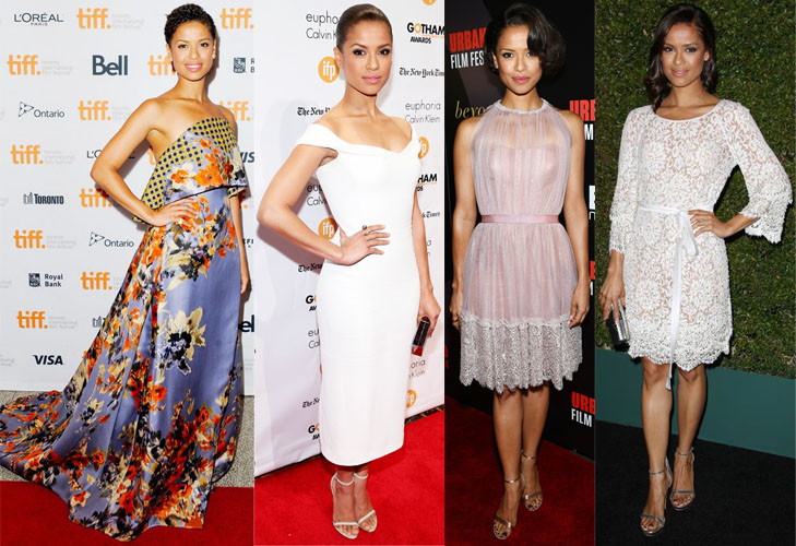Gugu Mbatha-Raw in Delpozo, Calvin Klein Collection, Jenny Packham, & Michael Kors.