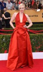 Gwendoline Christie in a red halter gown by Giles.