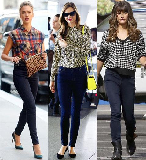 Jessica Alba, Miranda Kerr, & Lea Michele in printed tops.