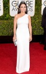 Julia Louis-Dreyfus in a white one-shoulder column gown by Narciso Rodriguez with an Edie Parker clutch.