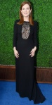 Julianne Moore in a black lace Saint Laurent long sleeved dress.