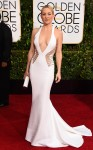 Kate Hudson in a deep-v white cut-out Versace gown.