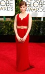 Kate Mara in a red belted Miu Miu gown.