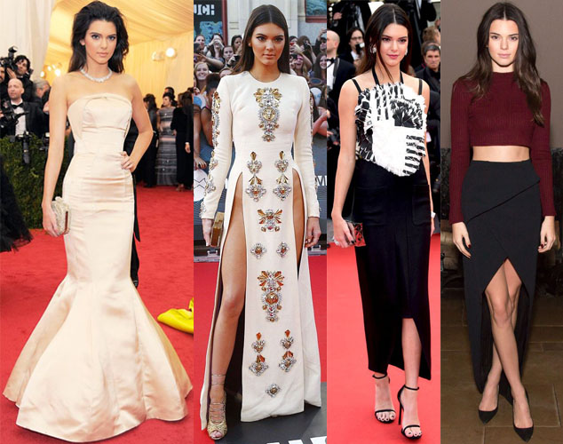 Kendall Jenner in Topshop, Fausto Puglisi, Chanel, & Sass & Bide.