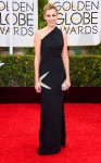 Laura Carmichael in a black one-shoulder column gown.