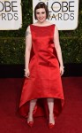 Lena Dunham in a red Zac Posen gown.