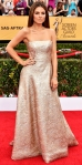 Maria Menounos in a silver brocade Romona Keveza strapless gown with jewelry by Neil Lane.
