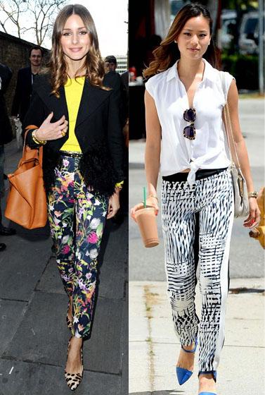 Olivia Palermo & Jamie Chung in printed pants.