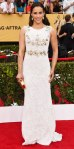 Paula Patton in a white embellished Aiisha Ramadan gown, Kimberly McDonald turquoise earrings, & Jerome C. Rousseau pumps.