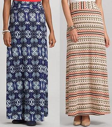 Printed maxi skirts.