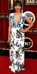 Rashida Jones in a black & white printed deep-v gown with aqua trim by Emanuel Ungaro.
