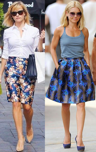 Reese Witherspoon & Kelly Ripa in printed skirts.