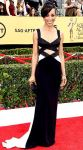 Shaun Robinson in a black & white cut-out Lorena Sarbu gown.