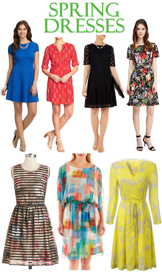 Spring dresses from Dress Barn, Old Navy, Wallis, Forever 21, ModCloth, JC Penney, & Chic Nova.