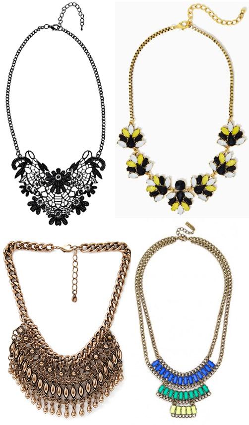statement necklaces.