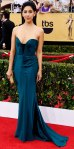 Stephanie Beatriz in a paneled sweetheart gown by Johanna Johnson.