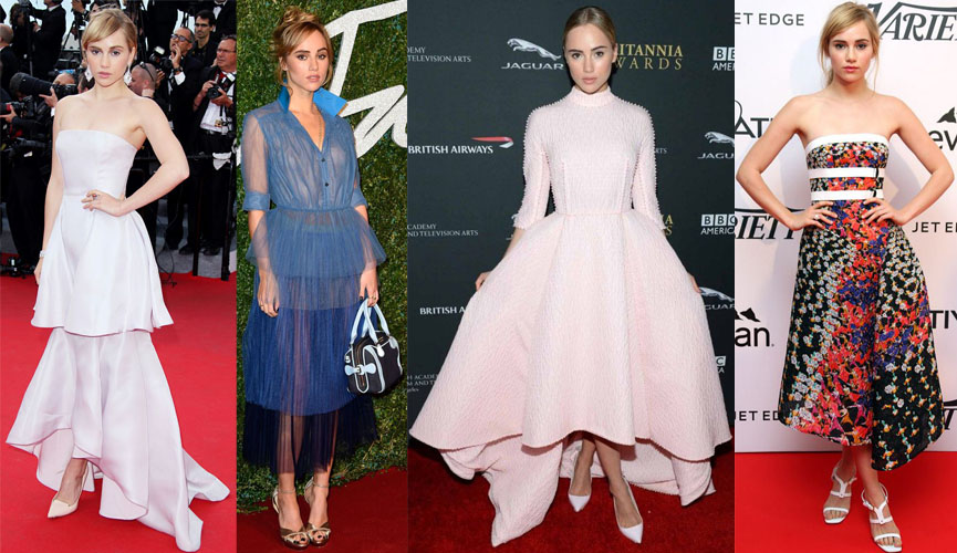Suki Waterhouse in Christian Dior, Burberry Prorsum, Emilia Wickstead, & Peter Pilotto.