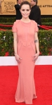 Taryn Manning in a peach Elisabetta Franchi dress.