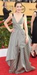 Tatiana Maslany in a black & white striped Oscar de la Renta gown.