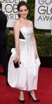 Tina Fey in a white & black Antonio Berardi sweetheart tea length dress.