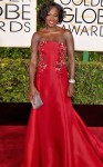 Viola Davis in a red strapless Donna Karan Atelier embellished gown.