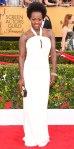 Viola Davis in a white Max Mara keyhole column gown & Van Cleef & Arpels jewelry.