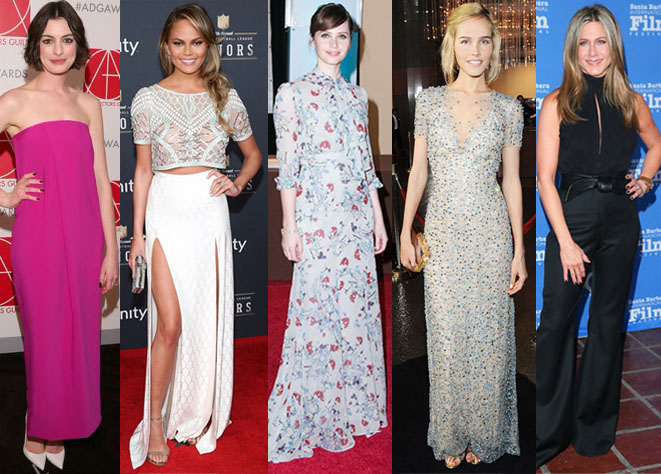 Anne Hathway, Chrissy Teigen, Felicity Jones, Isabel Lucas, & Jennifer Aniston.