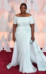 Octavia Sepncer in a pale blue off-the-shoulder Tadashi Shoji gown.