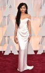 Zendaya in a white off-the-shoulder Vivienne Westwood gown.