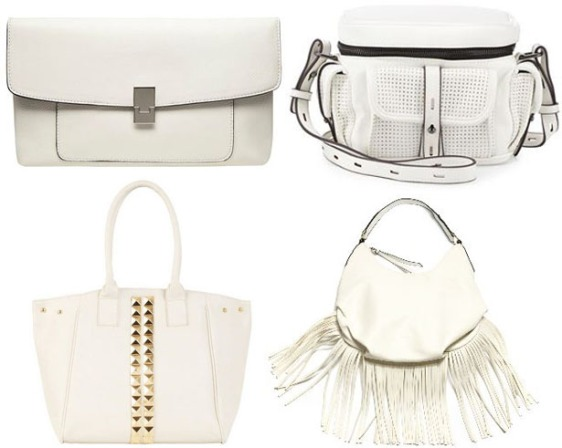 Clutch - Dorothy Perkins $17.00, Tote - Alloy $29.99, Messenger - Last Call $45.00, & Bucket Bag - Shoptiques $35.00.