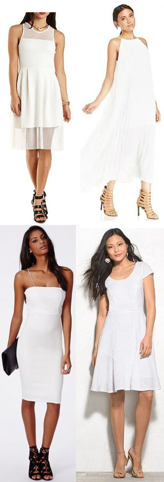 Dresses - Charlotte Russe $19.99, Romwe $28.00, Missguided $29.98, & Dress Barn $48.00.