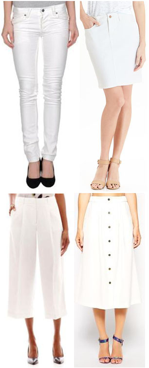 Jeans - YOOX $24.00, Pencil Skirt - Old Navy $29.94, Culottes - JC Penney $36.00, & ASOS $42.00.