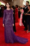 Alison Brie in a purple long sleeved beaded & sequin gown by Prabal Gurung at the 2015 Met Gala. 01.