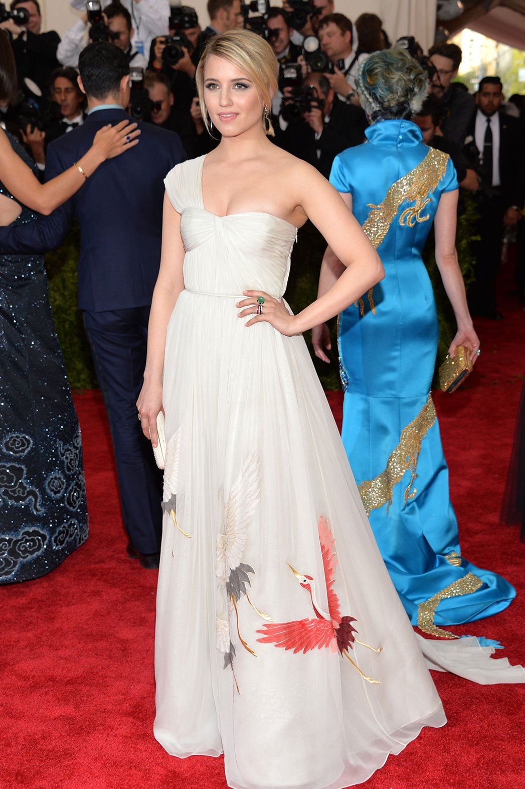 Dianna Agron in a white bird-designed chiffon Tory Burch one ...