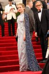 Emily Blunt in a steel blue Prada duchesse gown with glass bead emrboidery, a navy Prada clutch, & Christian Louboutin evening sandals at the 2015 Met Gala. 01.