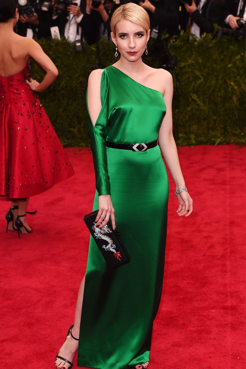 Emma Roberts In A One Shoulder Green Belted Gown By Ralph Lauren