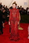 Jessica Hart in a red sheer lace emrboidered column dress at the 2015 Met Gala. 01.