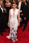 Kate Mara in a deep-v kimono-inspired white embroidered dress by Diane von Furstenberg at the 2015 Met Gala. 01.