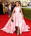 Kerry Washington in a pink high low ball gown at the 2015 Met Gala. 03.