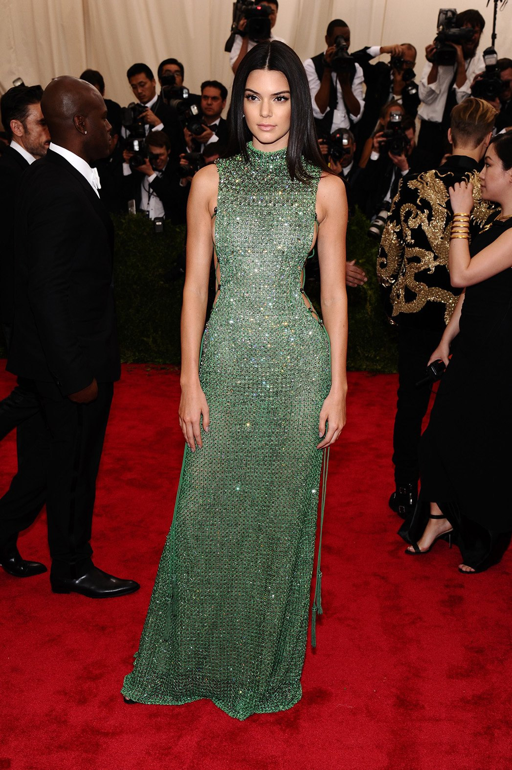 Kendall Jenner in a green beaded Calvin Klein Collection ...