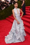 Lily Aldridge in a pale blue keyhole ruffled gown by Carolina Herrera at the 2015 Met Gala. 01.