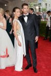 Maggie Q in an embellished Tory Burch design & Dylan McDermott at the 2015 Met Gala. 01.