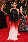 Olivia Munn in a black, red, & white ombre J. Mendel dress at the 2015 Met Gala. 01.